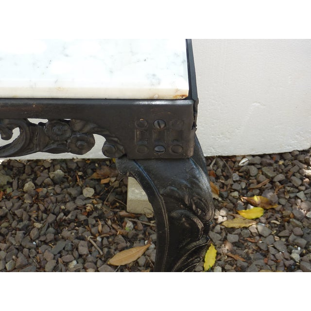 Antique Cast Iron Table with Marble Top - Image 4 of 8