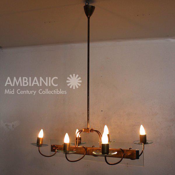 incredible six arm italian chandelier after fontana arte. Black Bedroom Furniture Sets. Home Design Ideas