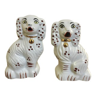 White Ceramic Staffordshire Dogs- A Pair