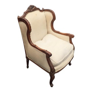 Antique Louis XVI Carved Bergere Wing Chair