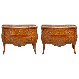 Pair of Louis XV Style Inlaid Commodes