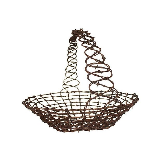 Barbed Wire Folk Art Basket - Image 2 of 3