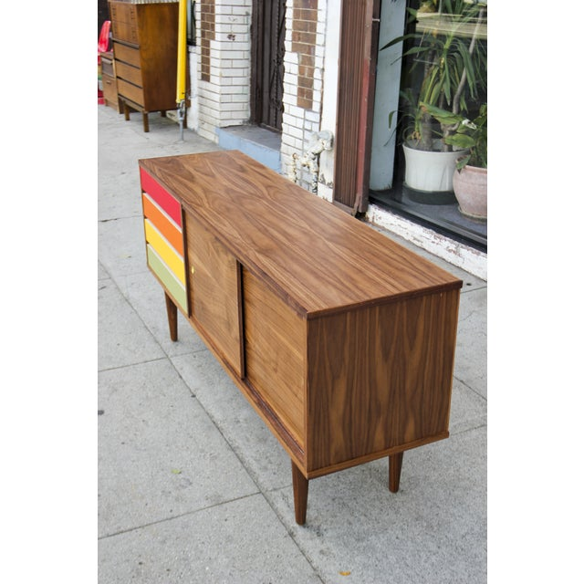 Image of Walnut Credenza With Rainbow Drawers