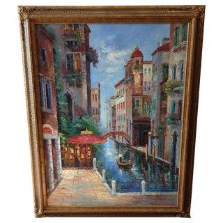Original Italian Canal Oil Painting