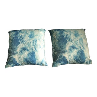 Accent Pillow in Turquise Watercolor Abstract With Down Inserts - a Pair