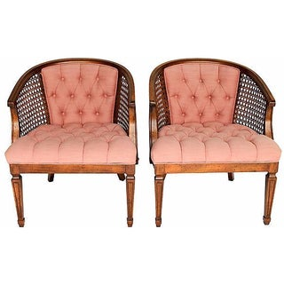 Tufted Pink Accent Chairs - Pair