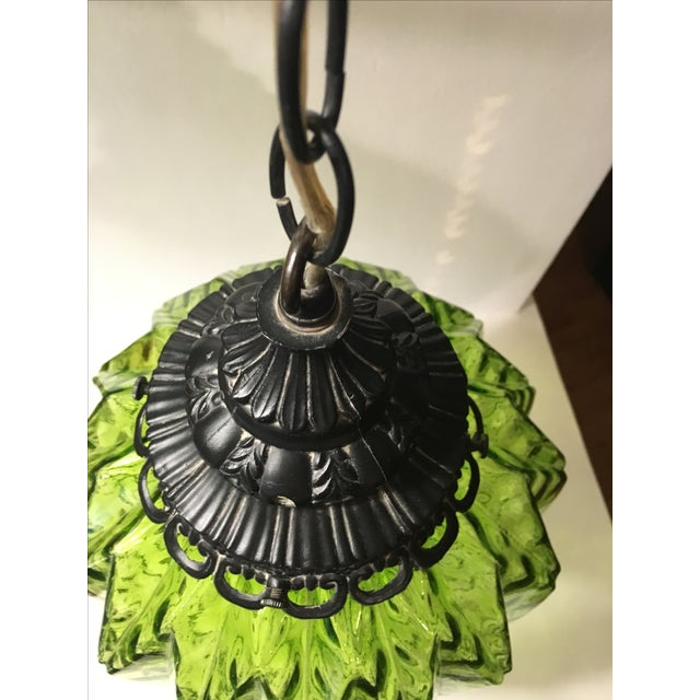 Mid-Century Green Glass Hanging Swag Lamp - Image 5 of 7
