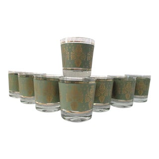 Mid-Century Green & Gold Scroll Lowball Glasses - Set of 8