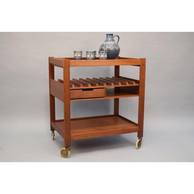 Mid-Century Teak Bar Cart With Reversible Serving Tray - Image 3 of 10