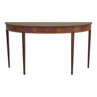 Inlaid Mahogany Federal Style Demilune Console Table