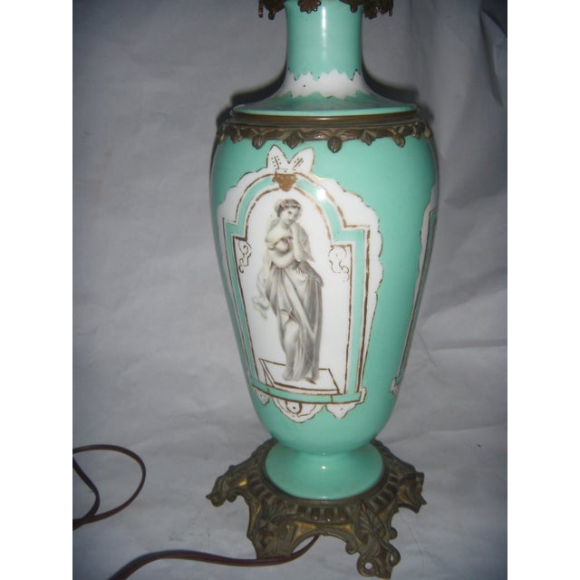 Neoclassical Teal Porcelain & Brass Lamp - Image 4 of 11