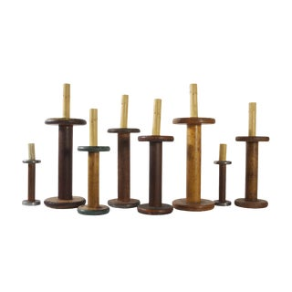 Wooden Spool Electric Candles - Set of 8