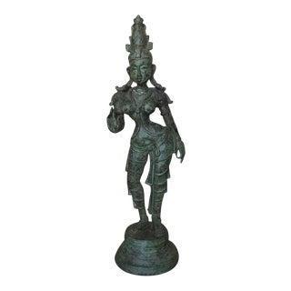 Bronze Parvathi Statue After Antique Model