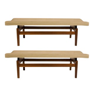 Jens Risom Floating Upholstered Benches - a Pair
