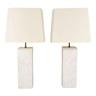 Substantial Travertine Square Column Table Lamps - a Pair