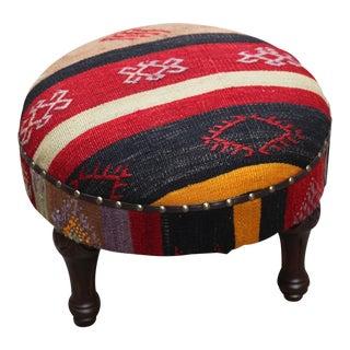Vintage Handmade Kilim Round Foot Stool / Ottoman