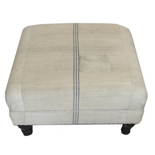 Antique French Grain Sack Oversized Ottoman