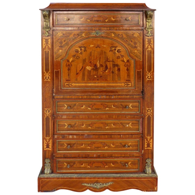 Antique French Style Marquetry Secretary - Image 1 of 11