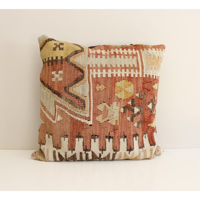 Vintage Turkish Kilim Pillow Multi Color Reds Brown Bohemian Mid Century - Image 2 of 5