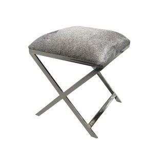 Grey Hide Stool with Nickel Base