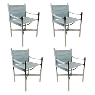 Set of Four Chrome Campaign Style Chairs