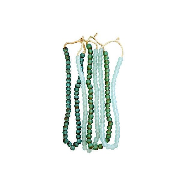 Green & Ice Sea Glass Bead Strands - Set of 4 - Image 2 of 4