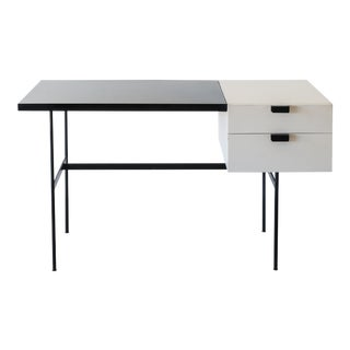 Rare Writing Desk Model CM141 by Pierre Paulin for Thonet in Original White Paint and Black Laminate, France, 1950s