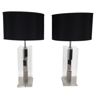 Architectural Chrome & Lucite Lamps - a Pair