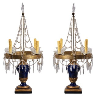 19th Century Swedish Candelabra Table Lamps- A Pair