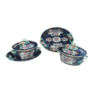First Period Worcester Porcelain Blue Scale Botanical Sauce Tureens - 4 Piece Set