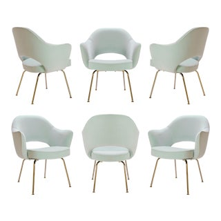 Saarinen Executive Armchairs in Mint Velvet, 24-Karat Gold Edition, Set of Six