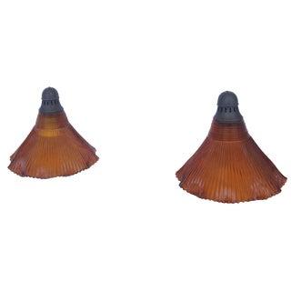 Orange Pendant Lights - Pair