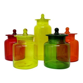 Blown Glass Canisters - Set of 5
