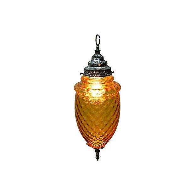 Amber Glass Pendant Lamp - Image 2 of 7
