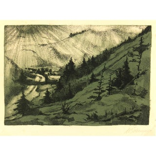 "Vintage Lithograph ""Mountain Valley,"" C. 1950"