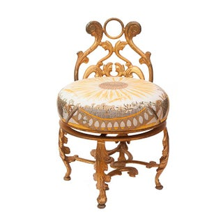 Gold Gilded Iron Vanity Stool in Hermès Silk