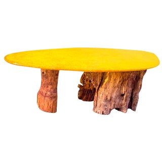 Modern Yellow Oval Resin Wooden Dining Table