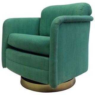 Milo Baughman Green & Brass Base Swivel Chair