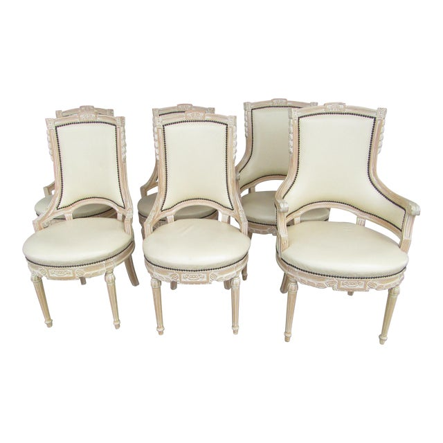 Cream White Carved Wood Dining Chairs - Set of 6 - Image 1 of 7