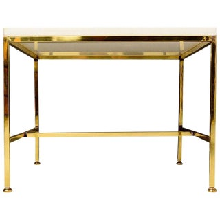 Brass Side Table with Milk Glass Top, After Paul McCobb