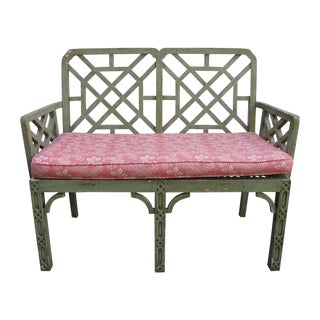 Vintage Bench with Upholstered Cushion