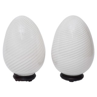 Murano Egg Table Lamps - A Pair