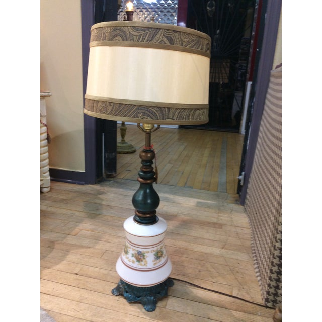 Antique Turquoise Brass Base Table Lamp - Image 2 of 5