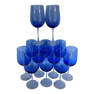 Set of 12 Cobalt Blue 8 oz. Crystal Wine Glasses
