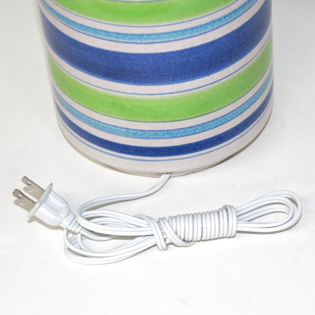 Image of 1960s Modernist Bitossi Pottery Lamp With Stripes