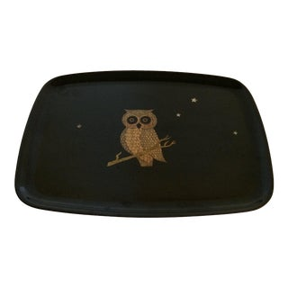 1960s Vintage Couroc Inlaid Owl & Sparkling Stars Serving Tray