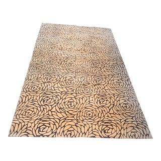 Designer Rose Petal New Zealand Wool & Silk Area Rug - 5′2″ × 9′