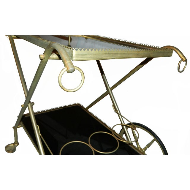 Image of Vintage French Cart with Black Opaline Tray