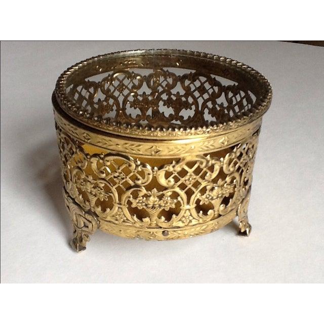 Vintage Gold Filigree Ornate Jewelry Box - Image 3 of 5