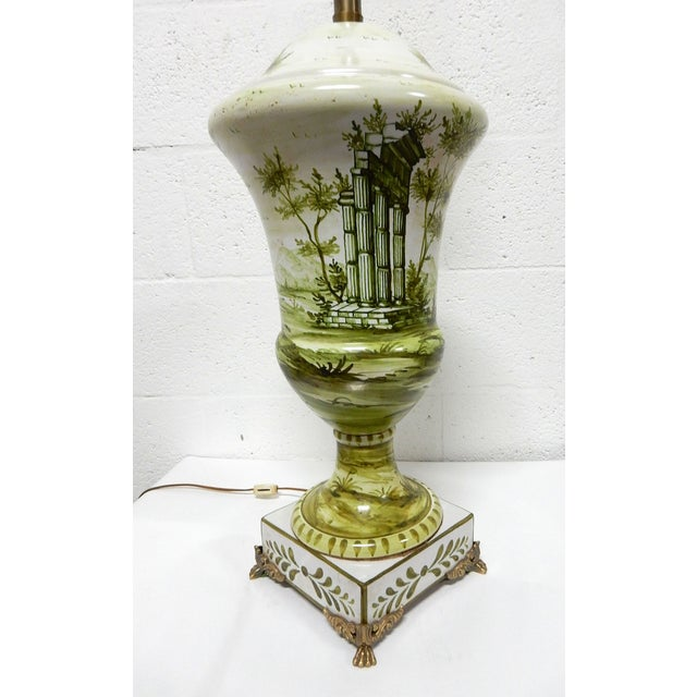 Image of Rare Hand-Painted Marbro Table Lamp, Claw Feet